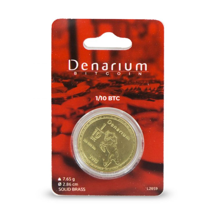 Denarium 1 per 10 BTC Physical Bitcoin packed