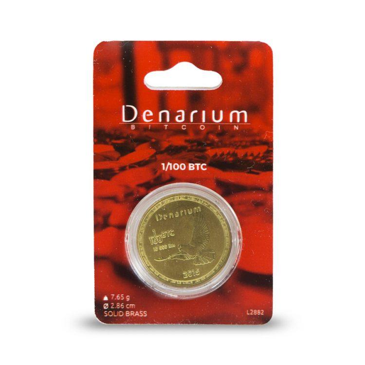 Denarium 1 per 100 BTC Physical Bitcoin packed