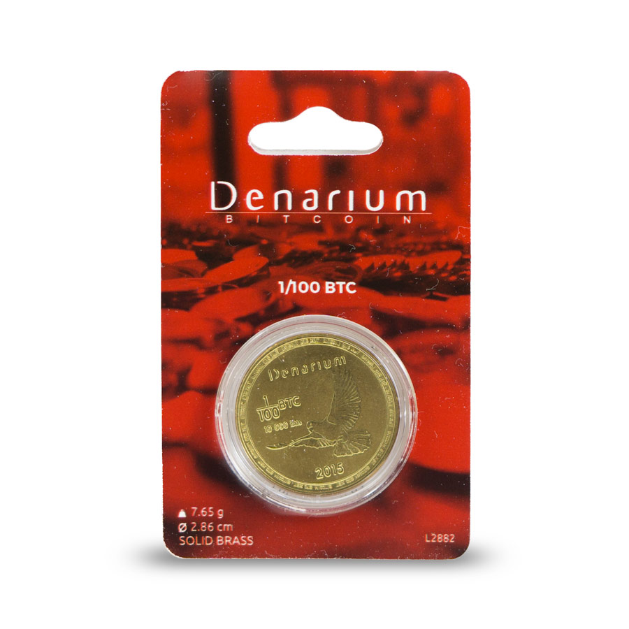 Denarium 1 per 100 BTC Physical Bitcoin packed, physical bitcoin, bitcoin wallet, gold-plated coin,