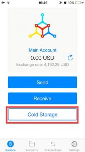 Mycelium Bitcoin cold storage spending