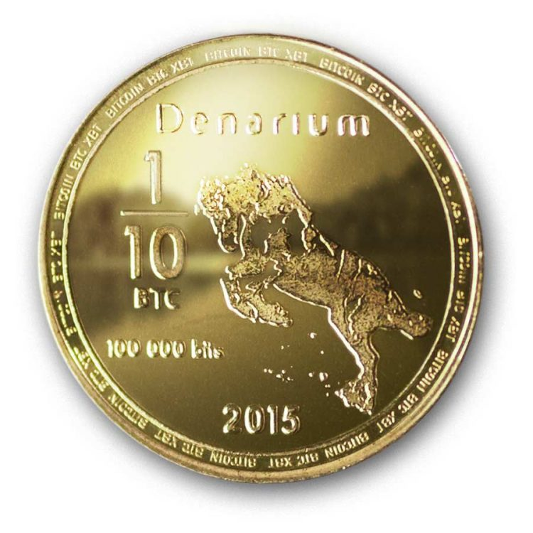 Denarium Bitcoin 100k bits Physical Gold Plated bitcoin