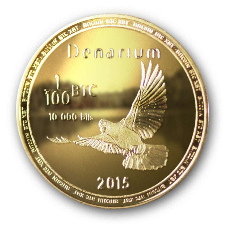 Denarium Bitcoin 10k bits Physical Gold Plated bitcoin