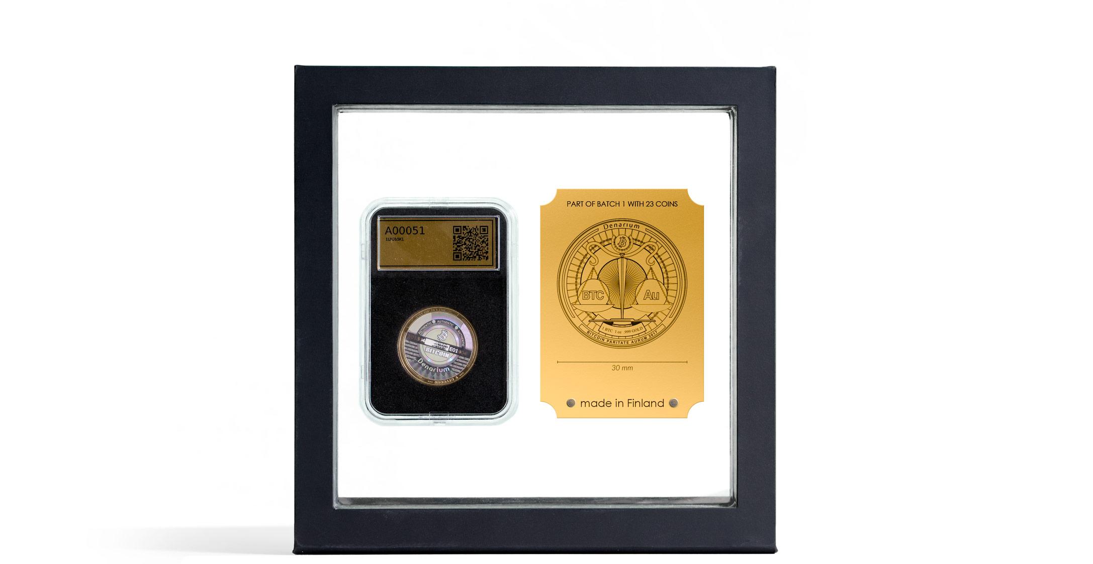gold coin,.999 gold, proof quality, pure, hologram, bitcoin wallet, physical bitcoins, denarium, slab case,