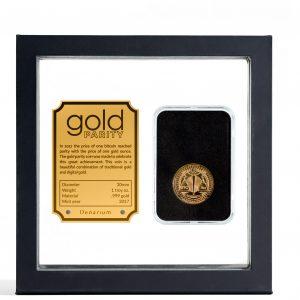 Denarium 1 BTC Parity Gold Coin package front