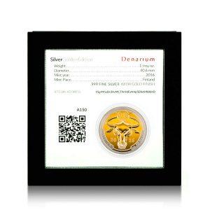 Denarium 1 BTC Silver Golden-Edition Coinbox