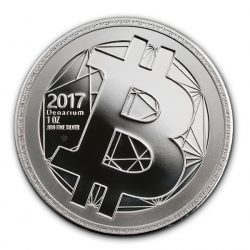 Silver coin, proof quality, .999 silver, physical bitcoin coin