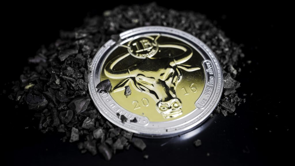 Denarium Physical Bitcoin coin 1 BTC Silver Golden Edition,