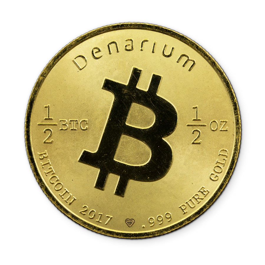gold coin, .999, proof quality, gold bitcoin wallet, physical wallet, bitcoin coin, Denarium 1per2 BTC Gold
