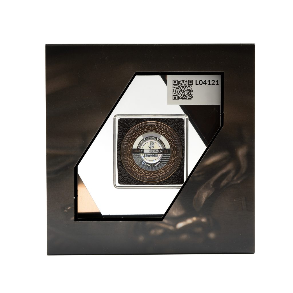 Denarium 1 BTC Patinated Bronze package back, bitcoin coin wallet qr code, hologram, private key, bronze coin