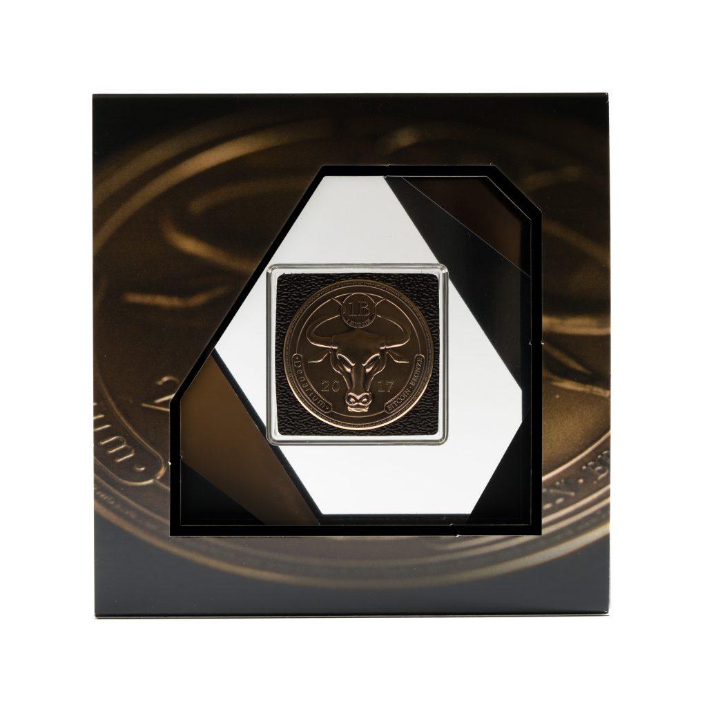 Denarium 1 BTC Patinated Bronze package front, bitcoin coin, bitcoin wallet, physical bitcoin
