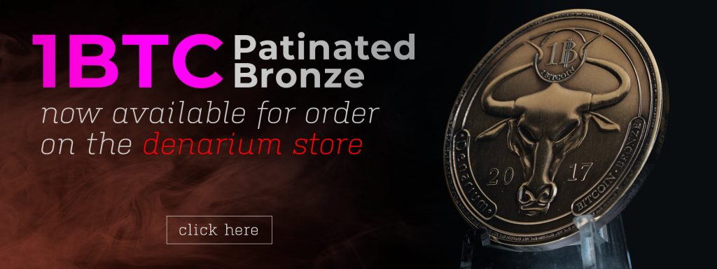 patinated bronze banner, denarium store, coin wallets, physical bitcoin coin