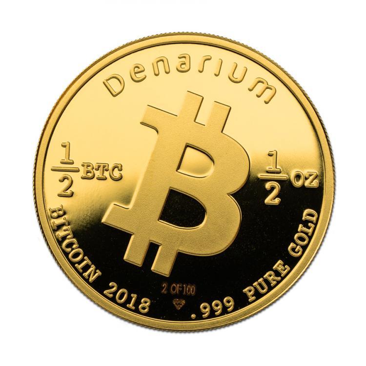Denarium 1-2 BTC Gold 2018 front