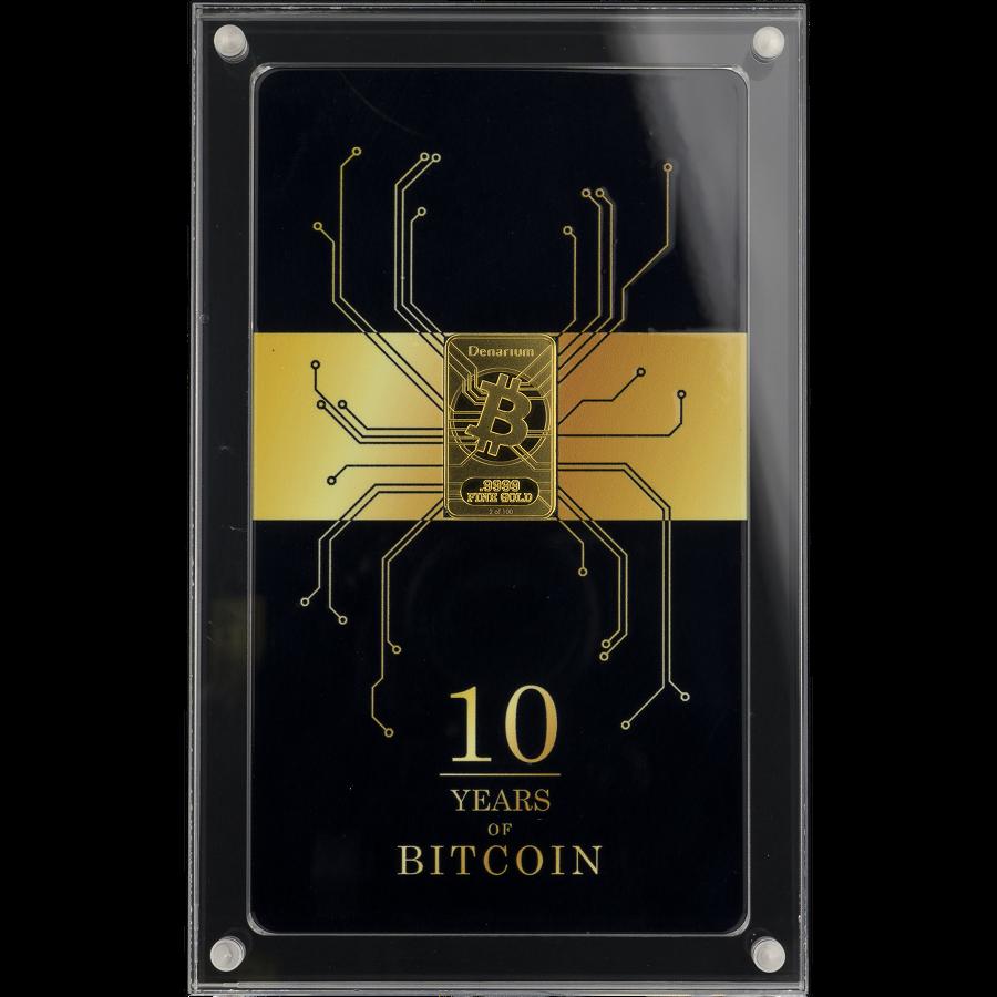 Denarium Bitcoin Decennium 2019 gold bar